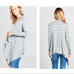 Striped long sleeve cascade front cardigan.